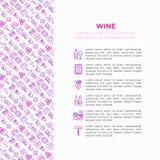 Концепция вина с тонкой линией значками: штопор, бокал, пробочка, виноградины, бочонок, список, графинчик, сыр, виноградник, ведр иллюстрация штока