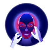 Концепция виртуальной реальности, характер девушки киберпанка в футуристическом космосе 3d также вектор иллюстрации притяжки core Стоковое Изображение