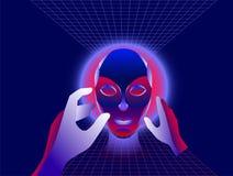 Концепция виртуальной реальности, характер девушки киберпанка в футуристическом космосе 3d также вектор иллюстрации притяжки core Стоковая Фотография
