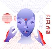 Концепция виртуальной реальности, характер девушки киберпанка в футуристическом космосе 3d также вектор иллюстрации притяжки core Стоковое фото RF