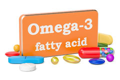 Концепция витамина Omega-3, перевод 3D Стоковые Изображения