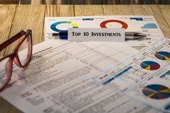 Концепция вкладов 10 лучших финансовая мотивационная Стоковые Изображения RF