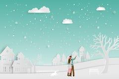 Концепция влюбленности в сезоне зимы, паре стоя на снеге с городским ландшафтом сельской местности, иллюстрацией вектора иллюстрация штока
