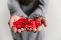 Концепция влюбленности дня валентинки Красный Харт в руке с космосом экземпляра стоковые изображения