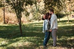 Концепция влюбленности, отношения, семьи и людей - усмехаясь пары обнимая в осени паркуют стоковое фото rf