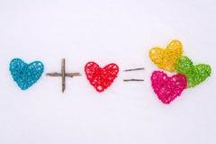 Концепция влюбленности: сердца на белой предпосылке Стоковые Изображения RF