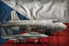 Концепция военновоздушных сил Чехия на предпосылке национального флага : стоковые изображения rf