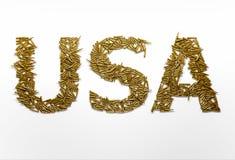 Концепция военной агрессии США Слово США напечатанные с шрифтом сумашедшим Стоковое Фото