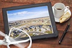 Концепция воздушного фотографирования недвижимости стоковая фотография