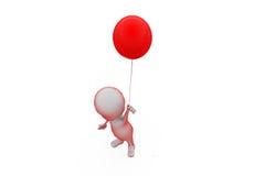 концепция воздушного шара человека 3d одиночная Стоковая Фотография RF