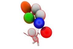концепция воздушного шара человека 3d Стоковая Фотография