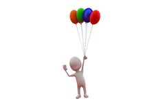 концепция воздушного шара человека 3d Стоковые Изображения