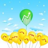 Концепция воздушного шара для дела или фондового индекса Стоковая Фотография