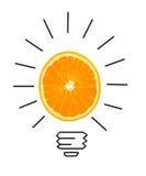 Концепция воодушевленности апельсина как метафора электрической лампочки для идеи стоковые фотографии rf