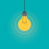 Концепция воодушевленности электрической лампочки идеи, плоская иллюстрация стиля Стоковая Фотография RF