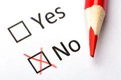 Концепция вопросника checkboxes отсутствие красного цвета карандаша да изображение наушников черноты близкое изолировало пусковую Стоковая Фотография RF