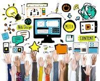 Концепция волонтера поддержки сыгранности веб-дизайна рук разнообразия Стоковые Изображения