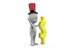 концепция волшебника денег человека 3d Стоковая Фотография