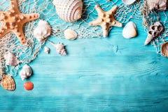 Концепция временени с seashells и морскими звёздами на голубых деревянных досках Остатки на пляже Предпосылка с космосом экземпля Стоковая Фотография