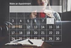 Концепция встречи крайнего срока назначения повестки дня календаря стоковая фотография