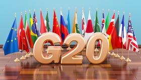 Концепция встречи G20, флаги всех членов G20 перевод 3d бесплатная иллюстрация