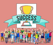 Концепция выполнения успеха премии за достижения детей детей стоковые фотографии rf