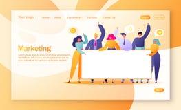 Концепция выходя на рынок страницы посадки команды Работа команды с плоскими бизнесменами характеров держа горизонтальное пустое  иллюстрация вектора
