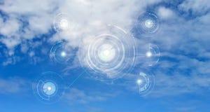 Концепция вычислительной цепи облака Защита данных Глобальная концепция безопасностью сети космоса кибер стоковое фото rf