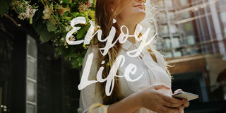 Концепция в реальном маштабе времени счастья наслаждения образа жизни жизни Стоковые Изображения RF