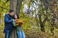 Концепция влюбленности, отношения, семьи и людей - усмехаясь пары обнимая в осени паркуют Стоковое Изображение RF