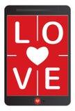 Концепция влюбленности, сообщение на таблетке Стоковые Изображения RF