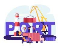 Концепция гавани доставки Контейнеры крана гавани нагружая, работники морского порта носят коробки от тележки в доках около маяка иллюстрация вектора