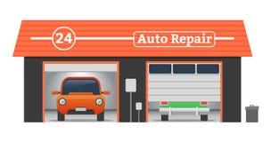 Концепция гаража вектора ремонта автомобилей Стоковое Изображение RF