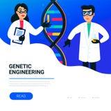 Концепция генной инженерии Ученые работая в лаборатории нанотехнологии или биохимии Винтовая линия молекулы дна бесплатная иллюстрация