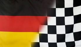 Концепция Германия победителя и checkered флаг цели Стоковые Изображения