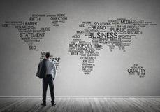 Концепция глобализации и сети с картой дела ключевых слов дела Стоковое Фото