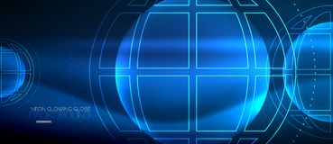 Концепция глобуса Techno, неоновая планета зарева
