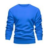 Концепция голубой фуфайки модель-макета пробела людей волнистая с длинными рукавами изолировала белую предпосылку Пуловер шаблона стоковые фото