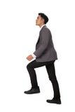 Концепция гоноров с лестницами бизнесмена взбираясь Стоковое Изображение RF