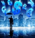 Концепция городского пейзажа денег валюты финансового кризиса Стоковые Фотографии RF