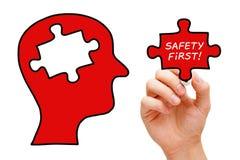 Концепция головы головоломки безопасность прежде всего стоковая фотография rf