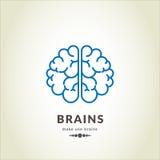 Концепция голубого значка мозга умная Стоковое Изображение RF