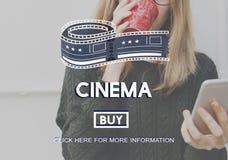 Концепция графика билета кино кино Стоковое Фото