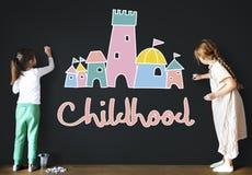 Концепция графика замка дворца детей детства Стоковая Фотография