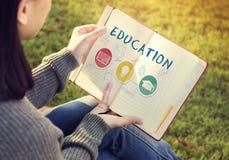Концепция графика значка книги шляпы лампочки слова образования Стоковая Фотография RF