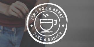 Концепция графика значка фиксации времени чая перерыва на чашку кофе Стоковые Фото