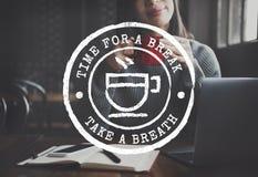 Концепция графика значка фиксации времени чая перерыва на чашку кофе Стоковая Фотография
