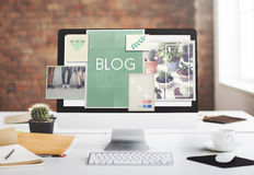 Концепция графика значков идей блога Blogging Стоковое Изображение RF