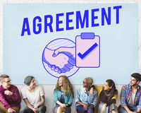 Концепция графика рукопожатия дела делового соглашения Стоковые Фотографии RF
