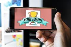 Концепция графика успеха чашки трофея достижения стоковое изображение rf